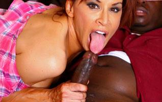 Black bitch sucks dick